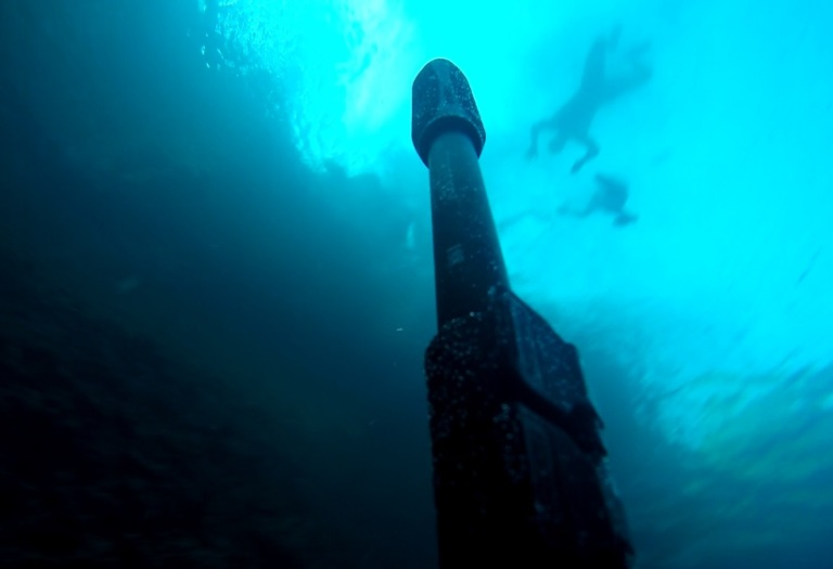 The GoPro all lonely at the bottom of the ocean and Blaise up in the distance looking for it