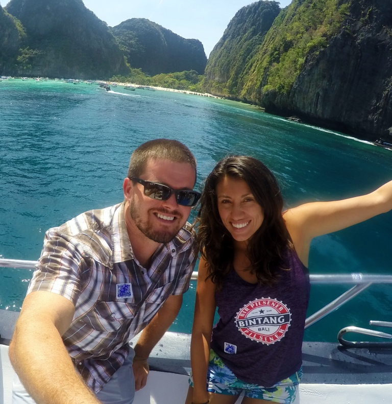 "In the ferry passing by Phi Phi Leh where ""The Beach"" movie was filmed"