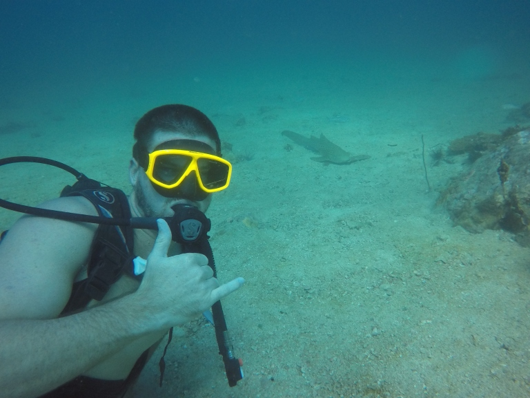 Blaise next to a Leopard Shark
