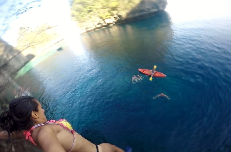 Cliff jumping and about to lose the GoPro
